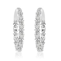 FB Jewels Solid Sterling Silver Black And White Colored CZ Cubic Zirconia 6mm Round Post Earrings