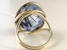 Contemporary Art Jewelry Unusual Design Unique Piece Blue and Gold Spiral Pure Titanium Statement Ring Art Welding Made in Finland