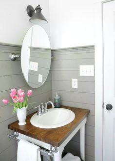 Farmhouse bathroom refresh - DIY shiplap and building your own vanity MIRROR Bathroom Sink Design, Shiplap Bathroom, Boho Bathroom, Small Bathroom, Bathroom Ideas, Bathroom Vanities, Bathroom Renovations, Bathroom Lighting, Bathroom Things