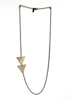 24 long triangle necklace Asymmetrical Arrow Necklace by ofmatter Jewelry Box, Jewelry Accessories, Fashion Accessories, Fashion Jewelry, Jewelry Design, Unique Jewelry, Jewlery, Trendy Jewelry, Jewelry Ideas