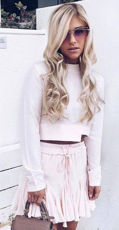 #Fashion  Summer Style : #summer #outfits Baby Pink Top & Skirt
