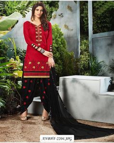 26af08762f Buy Classy Red Embroidered Cotton Patialia Suit at Rs. Get latest Patiala  Suit for womens at Ethnic Factory. Hills Fashion · Designer Patiyala Suit
