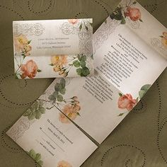 """Vintage Roses - Seal 'n Send   Vintage roses are shown throughout this seal 'n send invitation.  Dimensions: 6"""" x 4 1/4"""" Folded• Price Includes: Invitation verse, respond verse, printed return addresses and 3 clear round seals • Production Time: 3 Working Days"""