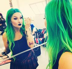 In love with her green hair and black lipstick x