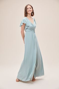 Flutter sleeves and elegant pleats wrap around the bodice of this soft georgette bridesmaid dress. Available in Sydney, Melbourne & Online. Cheap Bridesmaid Dresses Online, Bridesmaid Dresses With Sleeves, Bridesmaid Dresses Plus Size, Bridesmaids, Online Dress Shopping, Dress Making, Gowns, Melbourne, Sydney