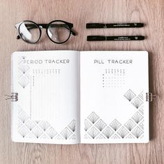 trackers | I decided to to a period and contraceptive pill tracker on a spread and I found a nice pattern design on Pinterest that I drew