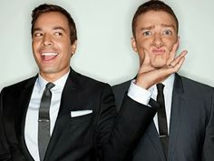 In the early Jimmy Fallon and Justin Timberlake cemented their now well-publicized bromance by starring in a recurring Saturday Night Live skit together. Well, seven years later, the duo is teaming up again. Saturday Night Live, Jimmy Fallon Justin Timberlake, Disneyland, Gq Men, Gq Magazine, Raining Men, Poses, Famous Faces, Beautiful Men