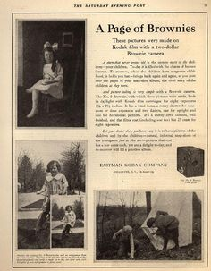 "1921 ""Saturday Evening Post"" A Page of Brownies. These pictures were made on Kodak film with a two-dollar Brownie camera. History Of Photography, Photography Camera, Vintage Photography, Kodak Film, Antique Cameras, Box Camera, Saturday Evening Post, Kodak Moment, Picture Story"