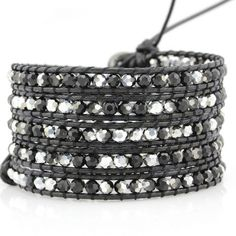 - 100% Vegan - Our classic 5-wrap bracelet made with Silver Dorado Crystals and Jet Hematite on Black Korean Waxed Chord - 100% hand made. Unbelievable attention to detail - Each bracelet has one clas