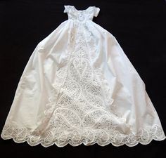 English Victorian Christening Gown with Lavish Hand Embroidery