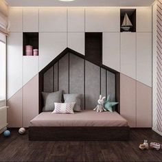 Luxurious Interior With Wood Slat Walls is part of children Room Girl - Get onboard with the wood slat wall trend with this luxurious home interior; featuring wood slat dividing walls, wall panel design and wood ceiling ideas Trendy Bedroom, Girls Bedroom, Modern Kids Bedroom, Bed Room Design Modern, Modern Design, Modern Beds, Childrens Bedroom, Kid Bedrooms, Bedroom Furniture