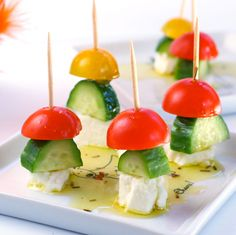 Skewered Tomato, Cucumber & Feta Appetizer | 100 Things You Can Eat On A Stick
