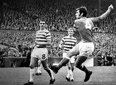 Celtic 2 Rangers 0 in Sept 1970 at Parkhead. Rangers captain John Greig shoots just over the bar #ScotDiv1