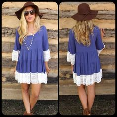 Cobalt or Mocha Lace Hem Boho Chic Tiered Dress Amazing dress and one of my top sellers! Brand new! Models wearing the small. Runs true to women's sizing. Available in both colors! Blue large sold out. Small mocha only Dresses Mini