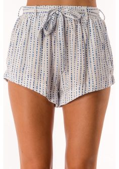 Chocolate Puff Pastry Shorts - White/Blue $35.95