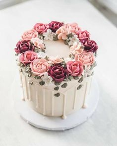 Elegant Birthday Cakes, Beautiful Birthday Cakes, Birthday Cakes For Women, Beautiful Cakes, Amazing Cakes, Birthday Cake For Mom, 27th Birthday, Cake Decorating Designs, Cake Decorating Videos