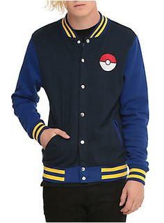 Varsity style jacket from <I>Pokemon</I> with logo designs, striped trim and front button closure.<ul><li> 60% cotton; 40% polyester</li><li>Wash cold; dry low</li><li>Imported </li><li>Listed in men's sizes</li></ul>