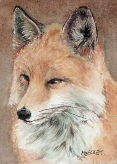 ACEO Original Painting Red Fox animals wildlife canine fur cunning sly dog #Impressionism