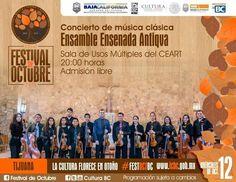 La música clásica no puede faltar en el Festival de Octubre! Acompañanos #hoy a disfrutar una noche con sonidos del Ensamble Ensenada Antiqva. La cita es en la Sala de Usos Múltiples CEART Tijuana a las 8pm. #GRATIS