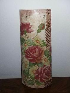 Tegola legno decoupage rose idea regalo cm 24