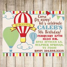 Hot Air Balloon Invitations PLEASE READ THE INFO BELOW!! I TRY TO ANSWER ANY ?? YOU MAY HAVE RIGHT HERE IN THE DESCRIPTION =)  Printable 5x7