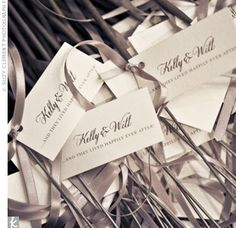 Sparklers as favors complete with elegant gift tags.