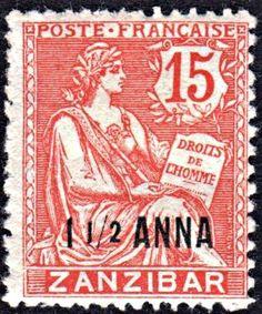 French Offices in Zanzibar 1.5 Annas