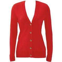 Rental Tory Burch Red Simone Cardigan (£30) ❤ liked on Polyvore featuring tops, cardigans, outerwear, dresses, red, red long sleeve top, red v neck cardigan, long sleeve tops, v neck tops and long sleeve v neck top