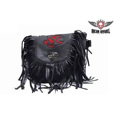 Women's Red Rose Inlay Motorcycle Black Leather Purse