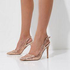Goudkleurige glitterpumps met hielbandje - schoenen - schoenen / laarzen - dames