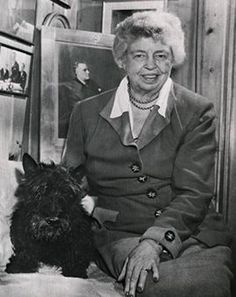 First lady Eleanor Roosevelt posed with Fala, the president's Scottish terrier, at her home, Val-Kill, in (Franklin D. Roosevelt Library) - Collector Note: See the buttons in the three photos? Ceramic by Babbington? Famous Dogs, Famous People, Famous Faces, Eleanor Roosevelt, Roosevelt Family, President Roosevelt, My Champion, Vintage Dog, American History