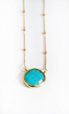 TURQUOISE coin bezel necklace van keijewelry op Etsy, $50,00