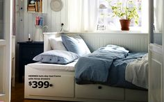 Guest bed idea. Love this piece from Ikea because it converts to full size - great for apt living.