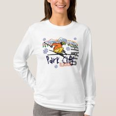 Park City Utah ladies ski elevation hoodie - tap, personalize, buy right now! Types Of T Shirts, Dog Wear, Long Scarf, Animal Design, Shirt Style, Fitness Models, Long Sleeve Shirts, Graphic Sweatshirt, T Shirts For Women