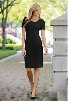 Chadwick's of Boston Short Sleeve Sheath Dress. Match with blazer for career outfit.