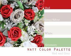 $250 Wedding Flower Package in red, gray, silver, dark red, white Wedding Flower Packages, Red Wedding Flowers, Real Flowers, Wedding Colors, Bride Bouquets, Bridesmaid Bouquet, Apple Red Wedding, White Corsage, Dream Wedding