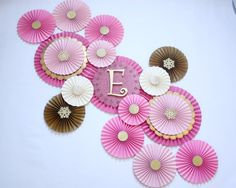 Pink and Gold First Birthday - Pink and Gold Baby Shower - Pink and Gold Party - Pink Paper Rosettes - Paper Rosettes - Paper Fans Picture Backdrops, Gold First Birthday, Paper Rosettes, Gold Baby Showers, Shimmer N Shine, Paper Fans, Monogram Letters, Craft Party, Pinwheels