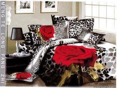 Wholesale red rose with black leopard skin prints bedding sets quilt/duvet cover sets for full/queen comforter, $62.69-118.71/Piece | DHgate