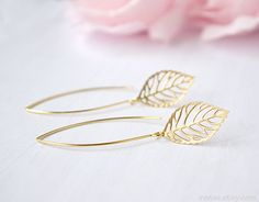 Gold leaf earrings Long dangle leaf earrings Leaf by irenau