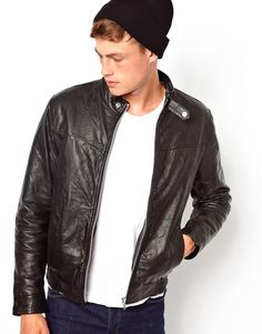 Black Leather Bomber Jacket by Asos. Buy for $190 from Asos