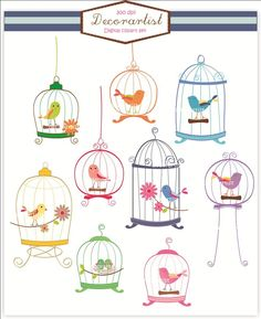 birdcage clip art, bird clip art , Digital clip art. birdcage, 9 birds and birdcages, invitations, card making. $4.80, via Etsy.