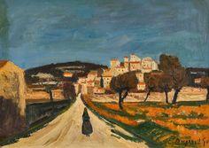 Georges Borgeaud - Route de Simiane dans le Vaucluse, 1965 - Huile sur toile, 46 x 65 cm Painting, Art, Oil On Canvas, Art Background, Painting Art, Kunst, Paintings, Performing Arts, Painted Canvas