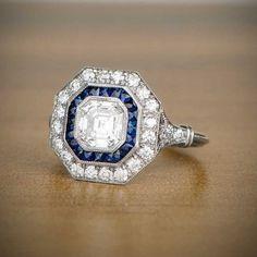 105 ct Asscher cortar diamantes y zafiro por EstateDiamondJewelry