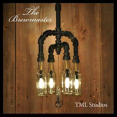 The Brewmaster - Repurposed Beer Bottle Chandelier with Opener, Vintage Industrial Steampunk Furniture Light Fixture with Upcycled Gas Pipe