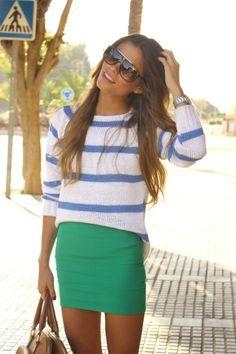 blue white stripe shirt & bandage skirt