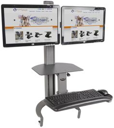 """Dual Workstation w/ Manual Height Adjustment, Up to 24"""" Screens – Gray"""