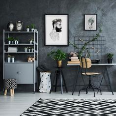 In class last week, we took a quiz to help determine our design styles. Well it came as no surprise . Office Wall Decor, Room Decor, Style Tropical, Kitchen Wall Clocks, Study Nook, Deco Boheme, Decoration Inspiration, Inspired Homes, Diy Home Decor