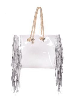 Clear beach bag Shopper transparent bag with jute rope clear handbag  shopping tote bag oversized bag fringe bag tassles stylish nfl style 63a5d98ca085d
