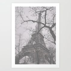 Eiffel Tower on a Cold Afternoon Art Print by barbarasoftley Tower, Walls, Posters, Cold, Art Prints, Pretty, Pictures, Products, Art Impressions