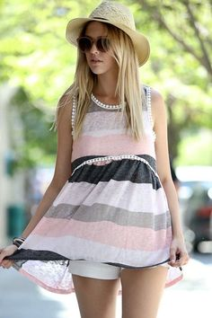 Sleeveless Multi-Color Stripe Lace Top- Ivory/Grey